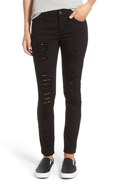 Free shipping and returns on SP Black Destroyed Skinny Jeans at Nordstrom.com. Shredded distressing adds rough-and-tumble edge to these pitch-black, stretch-cotton skinny jeans.
