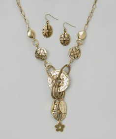 Gold Textured Ring Pendant Necklace & Drop Earrings  http://www.zulily.com/invite/salemebrands