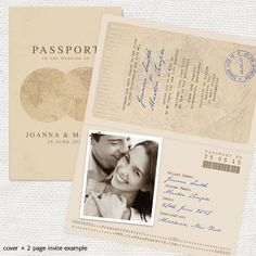No matter what your wedding location you can add a touch of antique style with a beautiful vintage destination wedding passport designs for invitations or your order of service. This elegant design with aged paper effect and world map illustration is shown here in almond, woodgrain and sapphire. Or choose your own colour combination from our great selection.   You can purchase just the cover design and create the inside pages yourself in word, or we can design all the pages for you, PAGE…