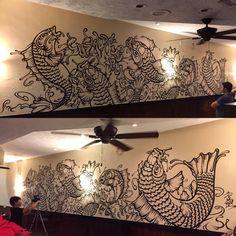 Mural【群鯉図〜GUNRIZU〜】SUSHI REPUBRIC miami frorida USA  2016
