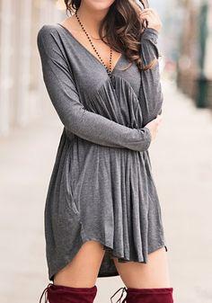 Grey Plain Cut Out V-neck Fashion Cotton Mini Dress