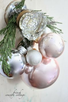 A little bit Merry- Cottage Bedroom Christmas Details - French Country Cottage French Country Christmas, Cottage Christmas, Shabby Chic Christmas, Noel Christmas, Pink Christmas, Christmas Colors, All Things Christmas, Christmas Crafts, Christmas Ornaments