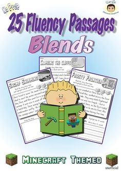 Reading Fluency Passages (Blends)No prep, just print and go. You get 25 engaging passages that focus on the initial blends and build fluency. Kids of all ages are motivated by Minecraft. You don't need to be a computer whizz to tap into the craze with these fun blend passages.