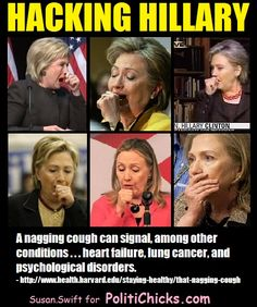 "Hillary Clinton's coughing fits just won't stop. The latest coughing episode on Tuesday was so bad Drudge posted, ""What Is Wrong with Her?"""