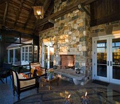 Marvelous Outdoor Fireplace Designs of Contemporary Outdoor Patio: Cool Outdoor Fireplace Designs With Traditional Porch Cream Soft Sofa And. Indoor Outdoor Fireplaces, Outdoor Fireplace Designs, Rustic Fireplaces, Outdoor Rooms, Outdoor Living, Fireplace Ideas, Outdoor Patios, Outdoor Kitchens, Corner Fireplaces