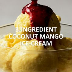 This Coconut Mango Ice Cream is refreshing, flavorful, and so, so cool. This is a healthy frozen dessert you'll want to keep in your freezer all summer long! Click the video for the full recipe. Mango Ice Cream, Coconut Ice Cream, Healthy Ice Cream, Coconut Sorbet, Mango Sorbet, Vegan Ice Cream, Coconut Milk, Köstliche Desserts, Frozen Desserts