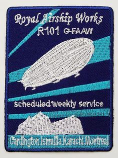 R101 Royal Airship Works Zeppelin - Embroidered Iron-On Patch!
