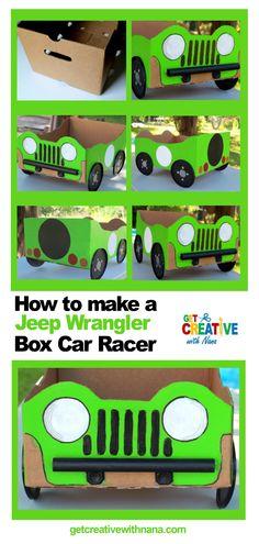 How to Make a Jeep Wrangler from a Cardboard Box - Get Creative with Nana Cardboard Play, Cardboard Box Crafts, Cardboard Castle, Cardboard Box Ideas For Kids, Cardboard Box Houses, Crafts To Do, Crafts For Kids, Kids Jeep, Movie Night For Kids