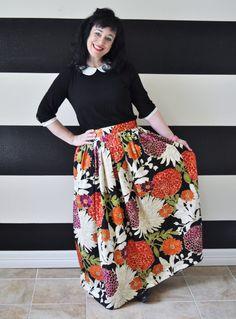 Black Floral Midi Skirt, Mini Skirt or Maxi Ball skirt  full, gathered skirt all sizes custom made to order