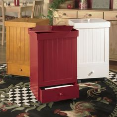 Rolling Trash Bins from Seventh Avenue ® Love this trash bin in red.