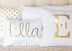 A gorgeous customised pillow, with your childs name written in sparkly gold or silver sequins on crisp white canvas. Perfect for your babys