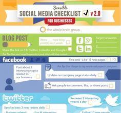Vor einigen Tagen lief mir auf Pinterest eine tolle Checkliste für Social Media über den Weg. Sie deckt die Bereiche Blog, Facebook, Twitter, LinkedIn,Google+, Pinterest und Youtube ab. Sie gibt Tipps , wie oft man etwas wo postet, wann wie viele neue Kontakte man generieren soll und vieles mehr.    Und hier ist sie ......