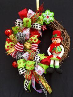 Snowman Grapevine Wreath / Plush Snowman by SouthernWhimsyStyle