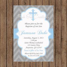 Boys Baptism Invitation - CHEVRON, Baby Dedication, First Communion, Confirmation, Christening - Any Color -  PRINTABLE -  YOU Print