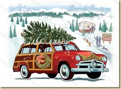 Woodie Wagon Christmas Cards, Package of 8 Retro Christmas Cards is part of Retro christmas cards - Woodie Wagon Christmas Cards an illustrated vintage Station Wagon visiting a snow covered Christmas tree farm A nostalgic, allAmerican Christmas card Christmas Cars, Modern Christmas Cards, Vintage Christmas Images, Christmas Graphics, Christmas Tree Farm, Christmas Scenes, Retro Christmas, Vintage Holiday, Christmas Pictures