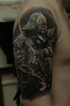 Shaded Samurai Half Sleeve