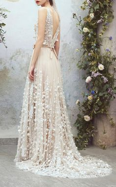 Organdy Floral Embroidered Ball Gown by Luisa Beccaria