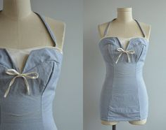 Vintage 50s Bathing Suit / 1950s Blue and White Stretch Chambray Halter Strapless Swim Suit with Bow