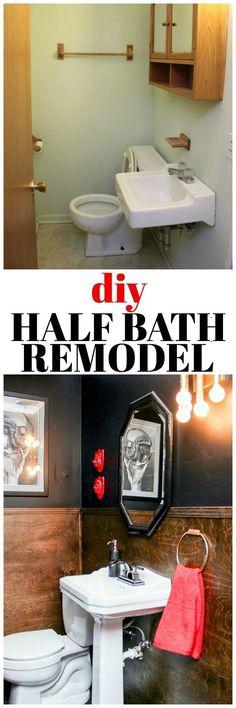 DIY Half Bath Remodel. Basement man cave