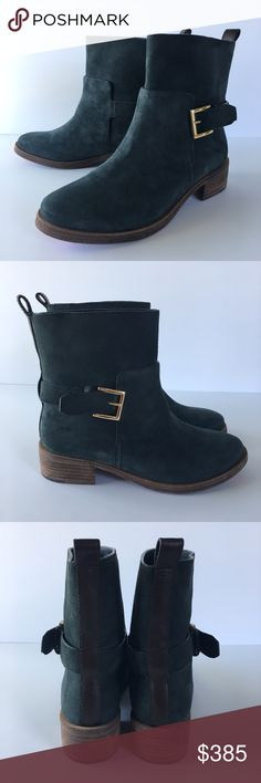 NIB Tory Burch Suede Chelsea / Moto Boots Brand new with box. Beautiful grayish turquoise blue suede boots with buckle. Very comfortable. True to size. Never worn, only tried on in house. Suede Chelsea Boots, Suede Boots, Bootie Boots, Ankle Boots, Boot Brands, Blue Suede, Moto Boots, Fashion Tips, Fashion Design