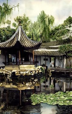 Garden In China, watercolor painting by Alfred Ng, a true master of watercolor, just look at the detail! Chinese Garden, Chinese Art, Watercolor Landscape, Watercolor Paintings, Watercolors, Chinese Architecture, China Painting, Canadian Artists, City Buildings