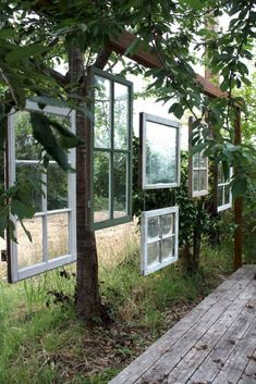 Old wood windows are perfect for adding a little privacy to your deck or patio. Replacing your old wood windows? Here are the top ten ways you can repurpose your old windows to create a unique look for your home. Backyard Patio, Backyard Landscaping, Backyard Ideas, Patio Fence, Patio Ideas, Landscaping Ideas, Pergola Patio, Porch Ideas, Backyard Plants