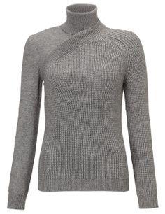 Grey Ribbed Wool Turtleneck | Cédric Charlier | Avenue32
