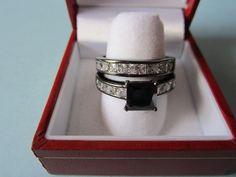 2 Carat Black Clear Gothic Wedding #Ring Set Princess-Cut CZ 925 Sterling Silver  #GothicBlackRingSet #EngagementwithBand #WeddingRingSet #Jewelry