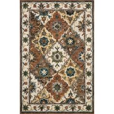 """Hand-hooked Wool Multi/ Ivory Traditional Floral Rug - 3'6"""" x 5'6"""" - Free Shipping Today - Overstock - 27098626"""