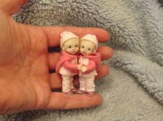 Miniature handmade MINI BABY GIRL TODDLER TWINS ooak DOLLHOUSE ART DOLL HOUSE