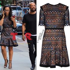 """You ask, we answer! @shirdiva was on @theshaderoom when she spied this picture of new couple @common and @angelarye ! She wrote, """"Where is this dress from please?"""" #angelarye stepped out with #common in a $595 @saloniofficial dress. What do you think? #saloni #instafashion #style #instastyle #fashionbombdaily #celebritystyle #fashion"""