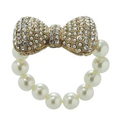 A beautiful pearls bracelet accented with a stunning crystal encrusted bow. Pearl Bracelet, Pearl Necklace, Bows, Pearls, Crystals, Bracelets, Beautiful, Jewelry, Fashion