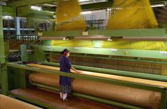 Single rapier jacquard loom. Construma Weaving machinery. Heavy duty carpet weaving.