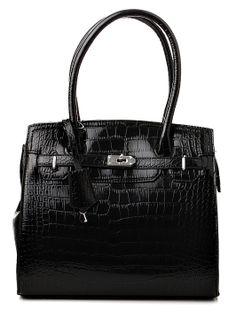 Luxusná čierna lakovaná dámska kabelka s veľkými rúčkami a kľúčikom na zamykanie. Kabelka sa dá nosiť v ruke a vďaka prídavnému ramienku aj cez plece. Hlbokú čiernu farbu dopĺňa zdobenie z bieleho kovu. http://www.yolo.sk/kabelky/kabelka-gessaci-force-majeure-cierna