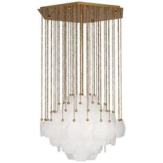 "Jonathan Adler Vienna 26 3/4"" Wide Aged Brass Chandelier 49"" high. 26 3/4"" wide."