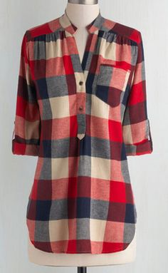 Cute red plaid tunic