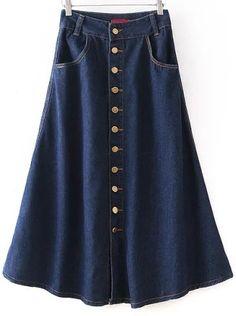 Navy Buttons Vintage Denim Skirt