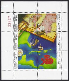 El Salvador Scott #1283a-f (16 Sep 1991) Miniature sheet of six stamps showing Columbus' ships falling off a chart and into the New World.  Click link to see a check list of worldwide stamps: Columbus, Discovery of America and other explorers of the New World… http://www.mrcolumbus1492.com/images/Columbus_Stamp_Checklist.pdf