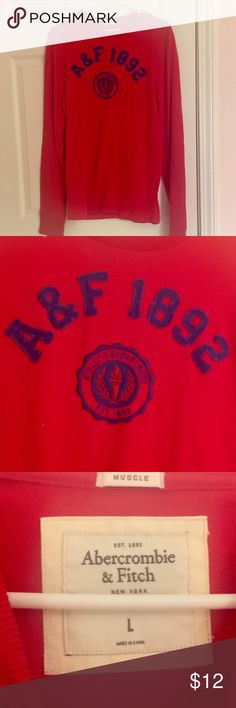 Abercrombie & Fitch A&F Long Sleeve Muscle Tee L Long sleeve A&F brand red with blue logo muscle long sleeve crew neck tee - size large. In great shape overall, no noticeable signs of wear - all labels in tact  I have several mens listings - lmk if you're interested in bundling, happy to offer discounts if purchasing 2 or more mens items :) Abercrombie & Fitch Shirts Tees - Long Sleeve