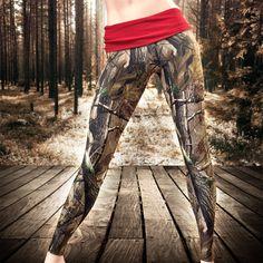 Full Length Camo Leggings, with Red Yoga-style Waistband