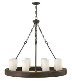 Fredrick Ramond FR48439 8 Light 1 Tier Chandelier from the Cabot Collection Rustic Iron Indoor Lighting Chandeliers
