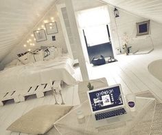 Attic rooms are usually the most appealing interiors in the whole house. You can use them for bedroom, storage room, entertainment room, rec room, or even bathroom! Check out these clever use of attic room ideas! Loft Room, Bedroom Loft, Home Bedroom, Bed Room, Bedroom Black, Bedroom Inspo, Bedroom Inspiration, Attic Bedroom Decor, Bedroom Curtains