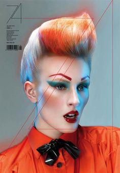 Orange Eyebrows, Lips, and Turquoise Eyeshadow. Editorial Makeup.