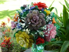 Victorian Multi Colored French Beaded Flowers