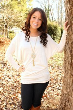 Live In Piko Top - Ivory $36.99 #southernfriedchics