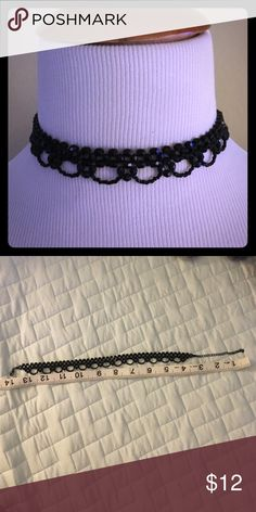 """Chocker Edgy choker in black. Adjustable clasp closure. 10"""" choker adjusts to 14"""". Jewelry Necklaces"""