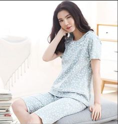 Free shipping women pajamas set summer short sleeve pyjamas cotton sleepwear  women night suit tracksuit home clothing for female c33f8a871