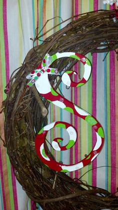 Painted wooden letter S