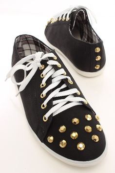 Black Faux Leather Studded Lace Up Flats