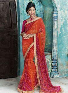 Brilliant Lace Faux Georgette Hot Pink and Orange Designer Bridal Sarees
